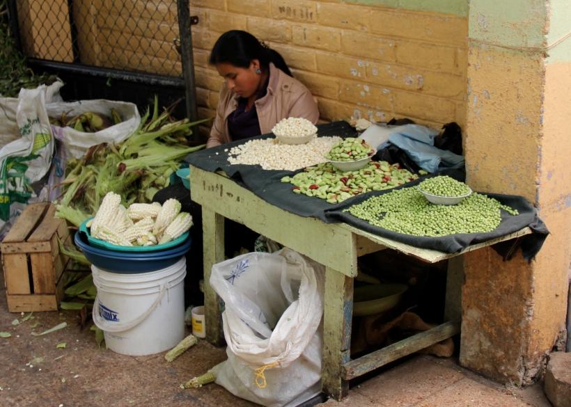 Corn seller in Otavalo, Ecuador