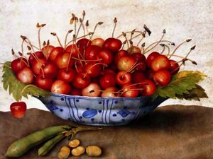 Giovanna Garzoni, Gouche on vellum painting of a bowl of cherries, ca. 1620s