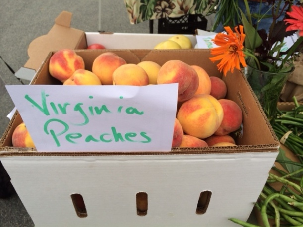 Peaches at a local market