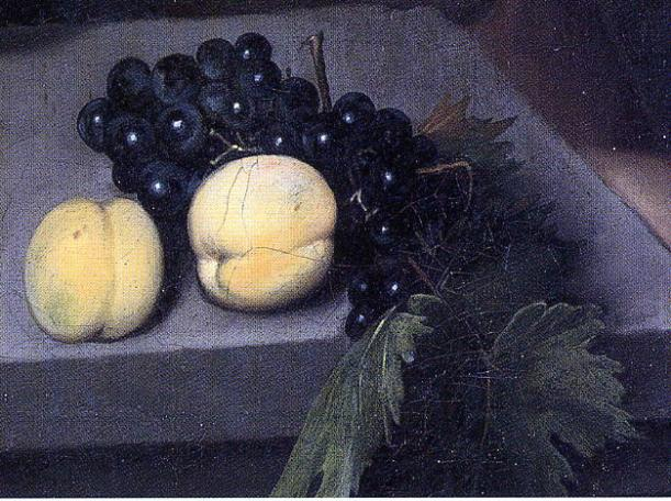 Caravaggio, Bacchino malato - detail of peaches