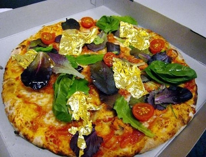 24 karat gold leaf on pizza $4,200)