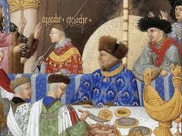 detail, January page showing a banquet at the Court of the Duke of Berry, ca. 1416/7